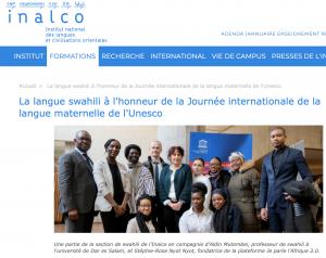 La langue swahili à l'honneur de la Journée internationale de la langue maternelle de l'Unesco