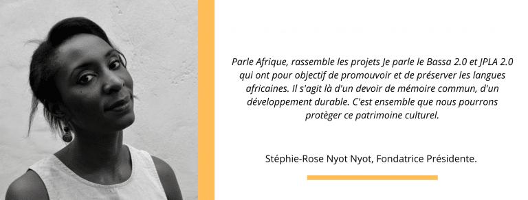 Stéphie-Rose Nyot Nyot parle Afrique je parle le bassa 2.0 jpla